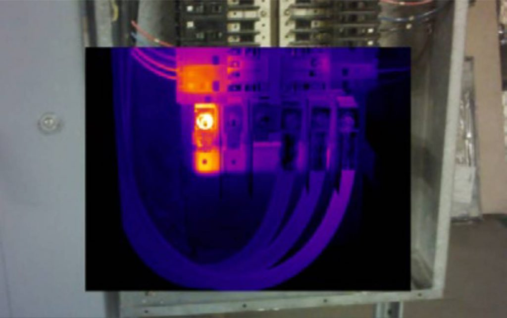Thermal Image showing abnormal heating in an electrical panel